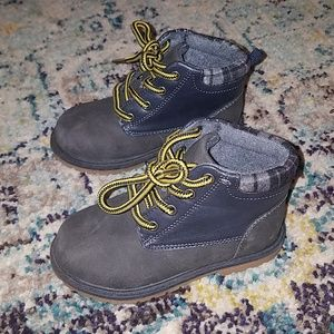 Gray and Navy Boots